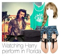 """Watching Harry perform in Florida"" by style-with-one-direction ❤ liked on Polyvore featuring Billabong, Zara, Ray-Ban, women's clothing, women's fashion, women, female, woman, misses and juniors"
