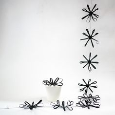 Handmade black flower garland by Les Copirates