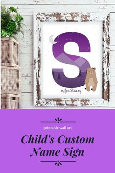 This baby custom name and initials wall decor is a perfect wall art for girl's nursery with woodland animals theme! You can select the initial letter of your child's name and specify his full name, so you'll have a customized print with his name and letter! #ad #commissionlink #typography #home #decor #kids #name #child #children #bedroom #nursery