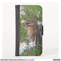 Adorable Chipmunk in flowers iPhone Wallet Case