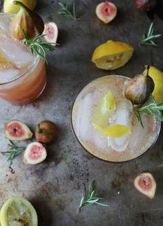 Fig and Lemon Cocktail - Fresh Fig Puree (Recipe), Vodka, Lemon Juice, Rosemary Honey Simple Syrup (Recipe), Club Soda. Cocktail Drinks, Fun Drinks, Yummy Drinks, Cocktail Recipes, Beverages, Lemon Cocktails, Refreshing Cocktails, Drink Recipes, Dinner Recipes
