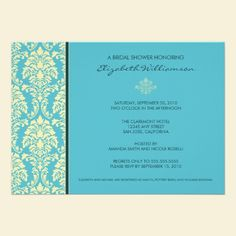 Classic Baroque Bridal Shower Invitation (aqua). Personalize for your own event in just a few clicks. Available in lots of color options. #wedding #bridalshower #diy #invitations