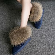 Women Boots Genuine Leather Real Fox Fur Brand Winter Shoes Warm Black Round Toe Casual Plus Size Female Snow Boots De Winter Heels, Winter Fashion Boots, Winter Boots, Fur Ankle Boots, Ankle Heels, Cute Snow Boots, Leather Heels, Cow Leather