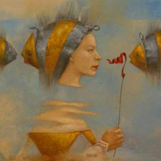 yellow - woman and fish - Catherine Chauloux - figurative painting