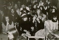 John, Yoko, George, Pattie, Ringo and Maureen attend the Isle of Wight festival, where they see Bob Dylan perform. 31 August 1969.