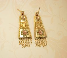 ANtique Victorian Earrings Tri gold Pierced dangle drops Fringe Rose gold yellow gold green gold blackhills gold