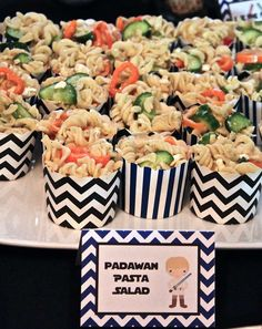 Pasta salad at a Star Wars birthday party! See more party ideas at CatchMyParty.com!