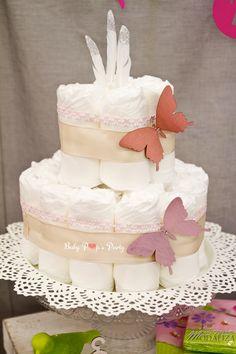 diaper cake butterfly baby shower www.babypopsparty.com/en-image
