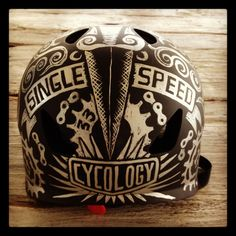 Our hand painted single speed helmet - designed by Cycology. Not for sale . just for lusting over! Cycling Helmet, Motorcycle Helmets, Fixed Gear Bicycle, Fat Bike, Helmet Design, Roller Derby, Vintage Bikes, Business For Kids, Bike Life