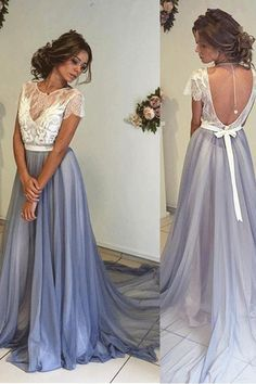 Sweep/Brush Prom Dresses, Blue Sweep/Brush Prom Dresses, Sweep/Brush Long Prom Dresses, A-line Long Blue Open Back Lace Tulle Simple Cheap Beautiful Prom Dresses M2874