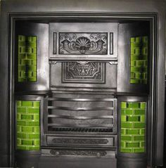 with green tiles. Georgian Fireplaces, Green Tiles, Fireplace Ideas, Antiques, House, Antiquities, Antique, Home, Homes