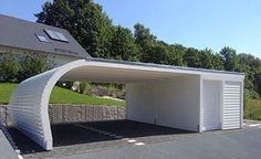 Bogendach Carport mit Geräteraum
