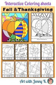 Interactive coloring sheets for fall and Thanksgiving--no two are ever the same! by lisam462