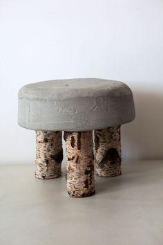 Get the Look: Industrial Chic - Industrial Decor - Concrete Stool, Concrete Cement, Concrete Furniture, Concrete Design, Diy Furniture, Polished Concrete, Cement Art, Concrete Crafts, Wooden Crafts