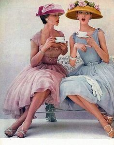 Afternoon tea in pretty dresses, 1950s.