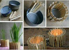 Household Items : DIY Plant Holder or Tea Light Holder Using a Tuna Can and Clothes Pins Diy Candle Holders, Diy Candles, Plant Holders, Citronella Candles, Diy Casa, Ideias Diy, Tea Light Holder, Household Items, Diy Tutorial