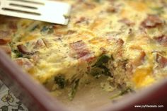 This is the ultimate egg bake/crustless quiche recipe. You make one egg mixture & choose your own toppings. It is low carb, gluten & grain free, and THM S.