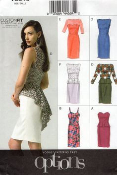 Vogue 8849 Dress Peplum Fitted 14 16 18 20 22 Bust 38 40 42 44 New Sewing Pattern Out of Print plus size Free Us Ship 2012 by LanetzLiving on Etsy