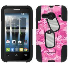 Alcatel Evolve 2 Nameplate on Digital Pink Camouflage Hybrid Stand Case