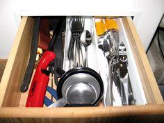 silverware drawer in our small Casita travel trailer Pantry Storage, Small Storage, Storage Spaces, Small Cupboard, Small Cabinet, Travel Trailer Interior, Travel Trailers, Casita Trailer, Casita Camper