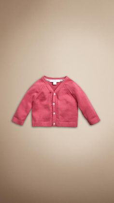 Warm cotton cardigan with cable knit detail Ribbed V-neck, cuffs and hem