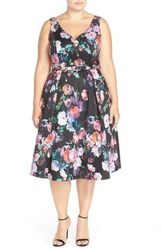 City Chic 'Tiffany' Floral Fit & Flare Dress (Plus Size) available at #Nordstrom