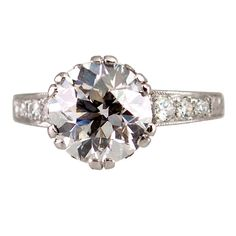 Edwardian 3.13 Carat Old European Cut Diamond and Platinum Ring | From a unique collection of vintage engagement-rings at https://www.1stdibs.com/jewelry/rings/engagement-rings/
