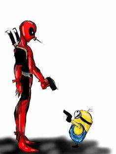 Deadpool vs Minion by on DeviantArt Marvel Vs, Marvel Dc Comics, Marvel Heroes, Deadpool Love, Deadpool Art, Deadpool Stuff, Archie Comics, Deadpool Wallpaper, Disney