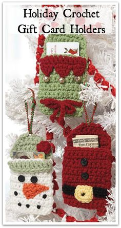 This trio of festive gift-card holders in Santa, snowman and elf styles offers a fun and unique way to give gift cards this holiday season. Hang them on the tree or tie them onto a package. Instant PDF download #ad #affiliate #christmas #crochet #pattern #diy