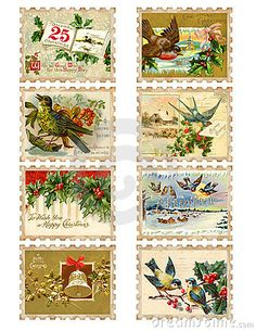 Set of eight vintage Christmas bird holly stamps by Jodielee, via Dreamstime