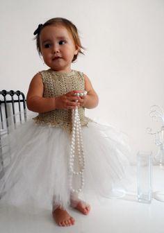 Princess baby girl dress with golden crochet bodice by AylinkaShop