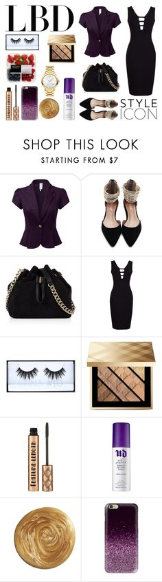 """Little Black Dress"" by mershadies7 ❤ liked on Polyvore featuring Karen Millen, Huda Beauty, Burberry, Urban Decay, Casetify and Movado"