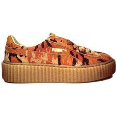 Rihanna Puma Fenty Creeper Nu Camo Release Date ❤ liked on Polyvore featuring shoes, camo print shoes, creeper shoes, camouflage shoes, camouflage footwear and puma shoes