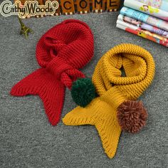 Kids Scarf Girls Boys Little Merma Scarf Knitted Crochet Neckerchief Scarf Wrap Knit Fish Tail Scarves Girl Kids Christmas Gift Knitting For Kids, Crochet For Kids, Baby Knitting Patterns, Crochet Patterns, Crochet Poncho, Crochet Scarves, Knitting Scarves, Crochet Collar, Baby Scarf