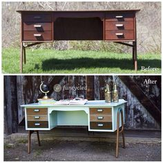 Before and after of a custom ordered furniture redo by Sarah Trop of FunCycled…