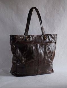 Leather tote, repurposed, recycled, upcycled