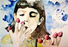 amelie poulain watercolor portrait