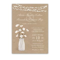 Rustic Kraft Paper Wedding Invitation Cotton Branches with string lights. Perfect for rustic weddings and cotton theme weddings.