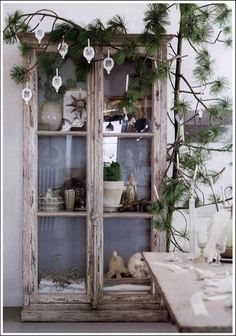 weathered curio cabinet