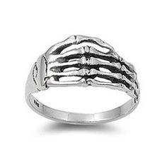 Sterling Silver Skeleton Hands Ring by MagickCats on Etsy, $16.50