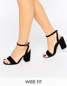 563a63292f3 ASOS HERON Wide Fit Heeled Sandals Black High Heels