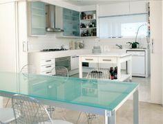 bancada central/mesa vidro