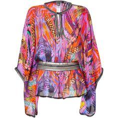 ROBERTO CAVALLI Sunset Multicolor Silk Caftan (115 KWD) ❤ liked on Polyvore featuring tops, tunics, shirts, cavalli, kaftan, beach shirts, going out shirts, sexy shirts, silk caftan and metallic shirt