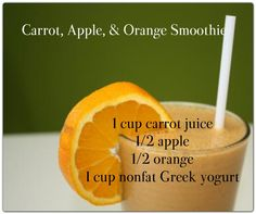 I love adding a carrot to my smoothies, and it goes well with the orange & apple. Easy to make - chop carrot up, peel orange, slice apple - throw all in a blender with about 1/2 cup water, blend. Sometimes I even add some greens (kale or spinach).
