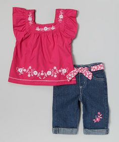 Look what I found on #zulily! Pink Floral Top & Jeans - Infant & Toddler #zulilyfinds $12.99