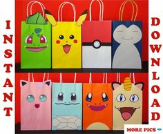 Pokemon Favor Bags/ Pokemon Party Bags/ Pokemon Birthday Party Favors/ Goodie/ Goody/ Loot/ Treat/ Candy/ Gift/ Bags/ Printable Decoration - Source by becaromeo Pokemon Party Bags, Pokemon Themed Party, Pokemon Gifts, Pokemon Birthday, Pokemon Pokemon, Panda Birthday, Pokemon Fusion, Pokemon Cards, Party Favor Bags