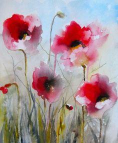 Karin Johannesson Contemporary Watercolour: POPPIES