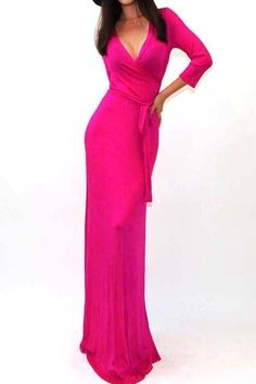 PINK Maxi Wrap Dress by OneGoldenBabe on Etsy https://www.etsy.com/listing/226876644/pink-maxi-wrap-dress