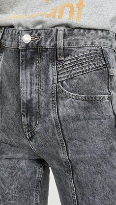 Isabel Marant Etoile Jeans Tube Denim motard Cropped rouge taille FR 38 FR 36