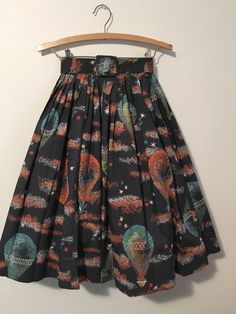 Vintage Novelty print Skirt Hot Air Balloons Pegasus Slate Full Cotton Belt #Handmade